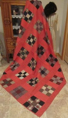 1870/80s Nine Patch Quilt Double Pink Cheater Prints On Back