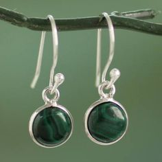 Novica Handmade Sterling Silver 'Malachite Spheres' Malachite Earrings (India) (Solid), Green, Size 10 mm wide x 23 mm long x 3 mm deep Story Behind the Art: 'I'm inspired by nature, hence you will find that most of my designs feature natural motifs Granada, Handmade Sterling Silver, Sterling Silver Pendants, 925 Silver, Silver Rings, Band, Silver Bracelets, Silver Jewellery, Diy Jewellery