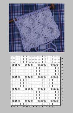 アラン模様(Honeycomb)ハチの巣の編み図と編み上がり作品