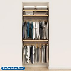 "Our exclusive Elfa Décor 3' Reach-In Closet adds a subtle touch of style to a powerful closet design. Ventilated Shelves with solid wood trim above dual hanging spaces provide storage for out-of-season and less-frequently used clothing. This solution is designed for a 39"" space, and can be adjusted or redesigned to accommodate your specific needs. Elfa Closet, Closet Rod, Kid Closet, Closet Space, Small Closet Organization, Closet Storage, Clothing Organization, Reach In Closet, Open Closets"