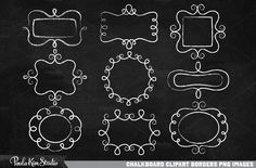 """A set of simple outlined chalkbord digital borders. 9 different border designs. Download also includes 8.5x11"""" and a 12x12"""" realistic chalk board background images. Each border image is"""