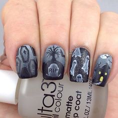 Nails Silver Grey Nailart Ideas For 2019 Hairstyles With Bangs, Trendy Hairstyles, October Nails, Black Cherry Nails, Gothic Nail Art, Halloween Nail Art, Halloween Coffin, Natural Hair Treatments, Matte Top Coats