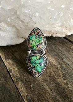 Opal Ring Statement Ring Sterling Silver Ring Gemstone
