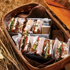 19 perfect picnic recipes - from gourmet sandwiches to sides... Serve sandwiches in picnic baskets for a party or guest!