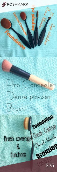 NEW 5pc Oval brush set plus NEW dense powder brush 1st pix) Four piece oval brush set  BRAND NEW, NEVER USED these four brushes are in my every day use and I love them and I hope you'll love them too! Big oval - foundation Med. oval- Contor or concealer Narrow oval - eyeshadow Tiny oval- Face blender or eyeshadow                                                ➕ 2nd pix) Pro Concealer Dense Powder Brush                           ➕ 3rd pix) XTRA oval brush   4th pix) jus my opinion 😊 Thank…