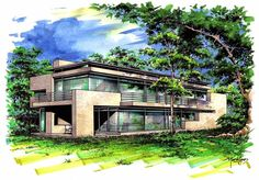bungallows m color by icarosteel on DeviantArt Architecture Concept Drawings, Architecture Design, Watercolor Architecture, Landscape Architecture, Constructivism Architecture, Exterior Rendering, House Sketch, Interior Sketch, Facade House