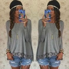Fashion Women Long Sleeve Shirt Casual Lace Blouse Loose Cotton Tops T Shirt | eBay