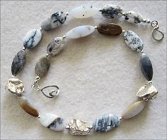 Dendritic Agate & Silver Necklace in Black and White - pinned by pin4etsy.com