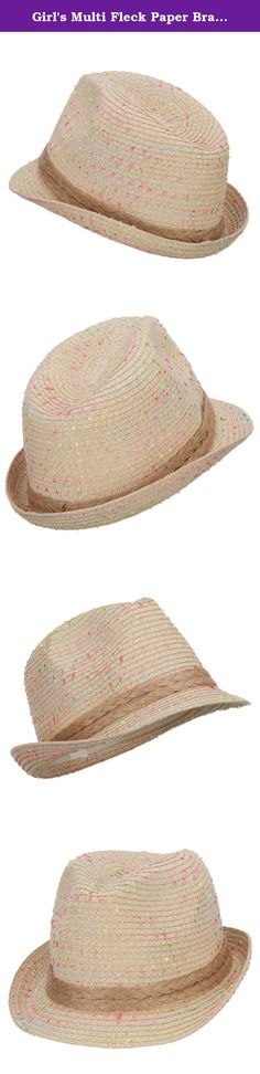 Girl's Multi Fleck Paper Braid Fedora - Beige OSFM. Fashionable and unique fedora for girls. Pinched top crown. Crown is designed with multi colored specks. Crown is accented with a double braid hat band. Brim is flexible and upturned on one side. Our trendy girls fedora is perfect for vacation trips, parties, tea parties, the beach, and casual wear. Spring and Summer. 8(W) X 10 1/4(L) X 5(H) inches. Flexible, lightweight, and thin material. Available in different colors and styles.