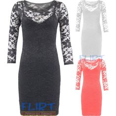 FLIRTY WARDROBE Bodycon Dress Lace Floral 3/4 Sleeve Sexy Top Party... via Polyvore