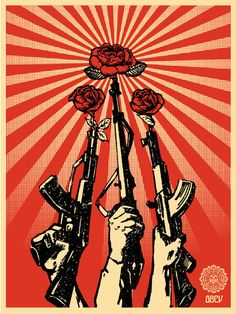 Shepard Fairey (Obey) is part of Obey art Guns and Roses, 2007 Screenprint 55 x 42 cm - Protest Kunst, Protest Art, Political Posters, Political Art, Graffiti, Art Pop, Art Obey, Shepard Fairey Obey, Urbane Kunst