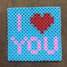 I Love You perler beads by perlerkid