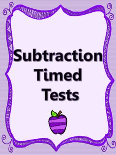 SUBTRACTION FACTS! $1  MINUTE TESTS!  Kindergarten, 1st grade, 2nd grade, 3rd grade!  Great review!