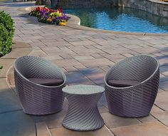 3 pce Outdoor Patio Setting Table + 2 Chairs Garden Wicker Rattan  Reference: ZX 010305-02410
