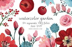 Check out Hand Painted Floral Set, gouache by swiejko on Creative Market
