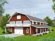 Barn-Style Garage Apartment Plan with Boat Storage Idea/concept but smaller Fr j Barn Style House Plans, Carriage House Plans, Pole Barn House Plans, Pole Barn Homes, Barn Plans, Small House Plans, House Floor Plans, Barn Homes Floor Plans, Barn Style Houses