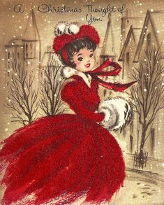 ■ Flickr-Photo Sharing by: Zero Discipline...      vintage Christmas card | red dress and white muff really stand out