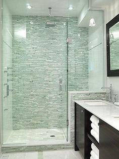 Glass tile design and color, dark cabinets, dark mirror