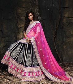 Pink & blue net and velvet lehenga choli with embroidery, heavy embellishments and pink net dupatta for wedding functions.