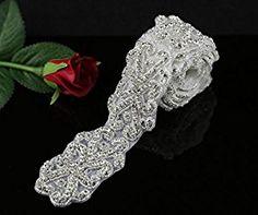 Amazon.com: QueenDream 1Yard Fashion Applique for Valentine's Day diamante beaded applique Bridal and bridesmaids dress trim Rhinestone belt