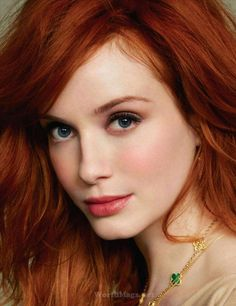 Christina Hendricks.  BSP Dyed or natural, hair, has a true red, neutral base,  It is also clear, and  rich, with a depth to contrast with the skin.  It is NOT a copper, strawberry, golden or violet red. It . It is not muted.
