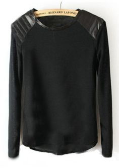 To find out about the Black Shoulder Contrast PU Leather Loose T-Shirt at SHEIN, part of our latest T-Shirts ready to shop online today! Josie Loves, Look Fashion, Womens Fashion, Do It Yourself Fashion, Pret A Porter Feminin, Latest T Shirt, Outfit Trends, Mode Inspiration, Passion For Fashion