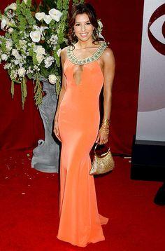 Eva Longoria struts her stuff in a custom Angel Sanchez gown at the 2005 Emmy Awards