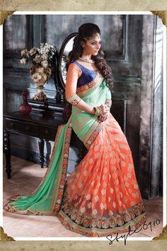 Green Chiffon Designer Saree