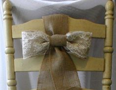 Imagine this as Navy Blue Burlap, and lace for chair ties/pew bows etc...       Burlap pew bows for wedding chairs, burlap wedding decor, shabby chic, country chic, rustic chic, French country, cottage chic wedding,. $8.00, via Etsy.: