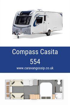The Compass Casita 554 is a 4 berth caravan layout with a Transverse fixed bed and an end bathroom. Layout, Motorhome, Compass, Recreational Vehicles, Caravan Reviews, Rv, Gossip, Bathroom, Caravan