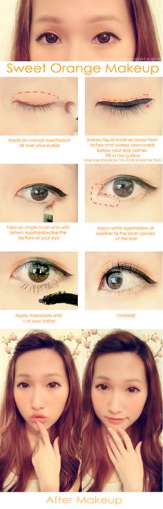 Orange makeup- Ulzzang tutorial in English Asian Makeup Tutorials, Korean Makeup Tips, Asian Eye Makeup, Beauty Tutorials, Kawaii Makeup Tutorial, Ulzzang Makeup Tutorial, Cute Makeup, Diy Makeup, Beauty Makeup
