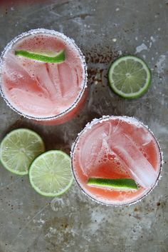 Watermelon Margaritas...salt is my favorite part of a margarita & I'm dying to try this combination!