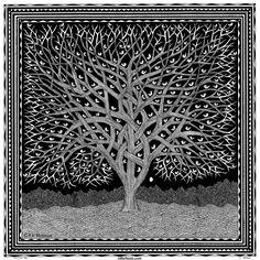 Twisting Tree, 15x15, black pen on paper