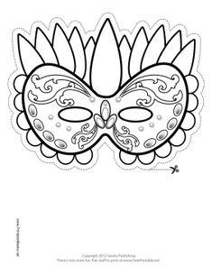 Festive Mardi Gras Mask to Color Printable Mask, free to download and print