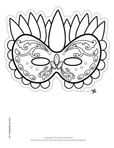 Festive Mardi Gras Mask to Color Printable Mask, free to download and print