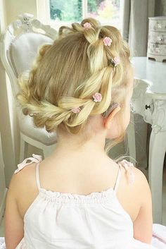 Cute Flower Girl Hairstyles ❤️ See more: http://www.weddingforward.com/flower-girl-hairstyles/ #weddings