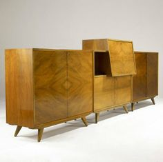 Anonymous; Teak Cabinet Set by AB J.O. Carlssons; 1950s.