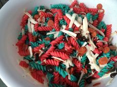 "Debra Traughber's ""Spiderman"" Pasta salad.......use food coloring to dye the noodles"
