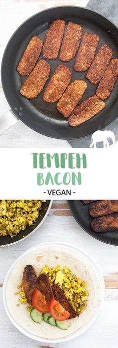 Vegan Tempeh Bacon - a delicious smoky plant-based alternative! Tempeh Recipes Vegan, Bacon Recipes, Delicious Vegan Recipes, Raw Food Recipes, Vegan Vegetarian, Vegetarian Recipes, Healthy Recipes, Vegan Food, Spicy Recipes