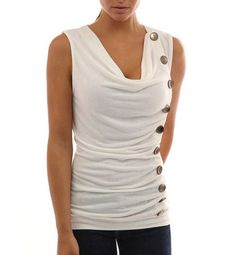 38167b818a6 Casual Button Tank Top. Plus Size ...