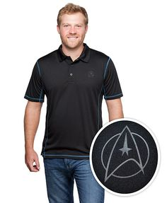 These 3-button black-on-black Star Trek 50th Anniversary polos feature the command insignia on the chest and NCC-1701 embossed across back. Choose Blue (science), Gold (command), or Red (operations / engineering).