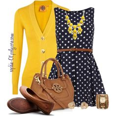 Polka dot dress with cardigan.