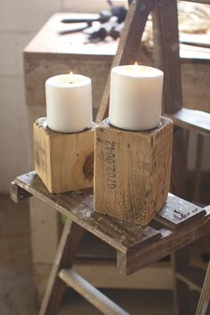 Kalalou Recycled Wood Candle Stands - Set Of 4
