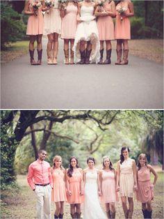 peach bridesmaid dresses and cowboy boots http://www.weddingchicks.com/2013/09/27/pink-and-cream-wedding/