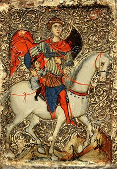 A painted panel dated about 1250 from the Middle East showing St.George with the…