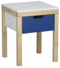 Stolik nocny EKO KIDS  Stabilny stolik nocny do pokoju dziecięcego. Szufladka oraz blat wykonane z płyty MDF zostały osadzone na drewnianych nóżkach.