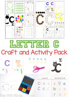 These printable alphabet letter c activities and crafts are perfect for your toddler or preschooler's letter of the week homeschool curriculum. These fun ideas and worksheets are great for small groups and independent learning. From c themed sensory bin to worksheets that work on fine motor skills this activity pack has you covered. via @funwithmama