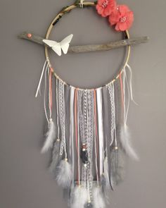 Dream catcher in driftwood, coral, grey and white colour. by MarcelMeduse on Etsy https://www.etsy.com/listing/262476755/dream-catcher-in-driftwood-coral-grey