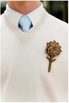 groom with pine cone boutonniere - make with Seniors for a special occasion…