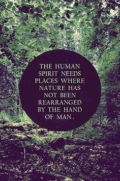 The human spirit needs places where nature has not been rearrnged by the hand of man